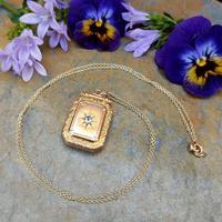 Antique Victorian 9ct Gold & Aquamarine Rectangular Locket Pendant (8 of 9)