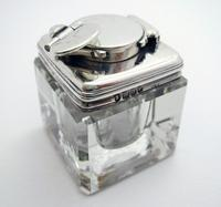 Antique Georgian 1829 Solid Sterling Silver & Glass Travelling Inkwell Ink Pot - 19th Century (8 of 10)