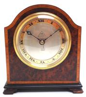 Impressive Amboyna Burr Walnut Edwardian Timepiece Mantel Clock by Dent London