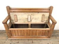 Pitch Pine and Oak Settle Bench with Storage (M-1522) (8 of 10)