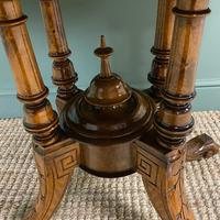 Victorian Oval Figured Walnut Inlaid Antique Side Table (7 of 7)