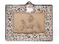 Late Victorian Silver Photo Frame Embossed and Pierced with Scrolls and Floral Scenes (3 of 5)