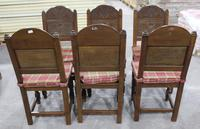 1900s -Set of 6 Oak Quality Carved Dining Chairs with Tartan Cushions (3 of 4)