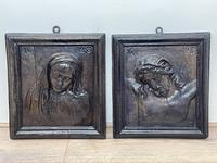 Pair of Antique Belgium Ecclesiatical Mary & Jesus Wall Plaster Plaque Sculptures (2 of 18)