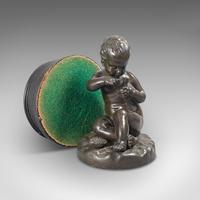 Antique Putto Statue, French, Bronze, Cherub Figure c 1900 (4 of 12)