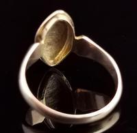 Antique Navette Mourning Ring, Black Enamel & Pearl, Ivy Leaf, 9ct Gold (5 of 10)