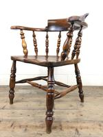Antique 19th Century Ash & Elm Smokers Bow Chair (10 of 12)