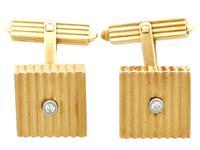 Diamond & 18ct Yellow Gold Cufflinks - Art Deco Style - Vintage German c.1960 (2 of 9)