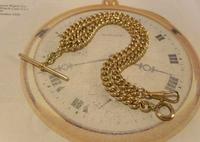 Antique Pocket Watch Chain 1890 Victorian 12ct Rose Gold Filled Albert With T Bar (3 of 12)