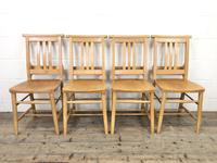 Set of Four Vintage Beech Chapel Chairs