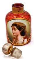 Exceptional Bohemian Glass Scent Bottle with Peasant Girl Head c.1865 (4 of 5)
