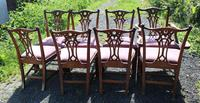 1960's Set of 8 Chippendale Style Dining Chairs 6+2 Carvers (3 of 3)