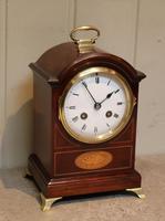 Small Mahogany & Inlay Mantel Clock (4 of 12)