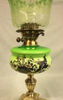 Antique Victorian Green Glass Oil Lamp & Original Frilled Green Shade (8 of 13)