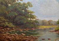 Beautiful Original 1921 Antique Riverscape Landscape Oil Painting (6 of 10)