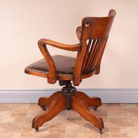 Good Quality Oak Revolving Office Desk Chair (11 of 14)