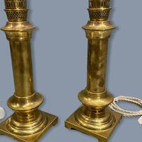 Pair of Brass Column Table Lamps (4 of 7)