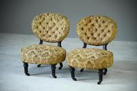 Pair of Victorian Ebonised Salon Chairs (2 of 7)