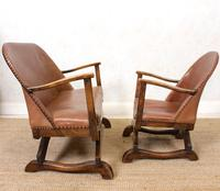 Carved Oak Leather Bucket Sofa & Chair (2 of 24)