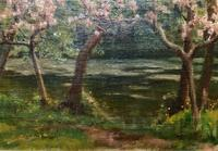 Superb Early 1900s Spring Blossom Riverscape Impressionist Oil Painting (6 of 13)