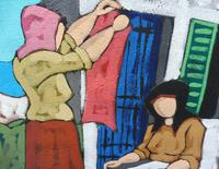 Oil on Board Washing Day by Artist S Spina 1960s (8 of 10)