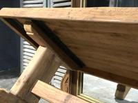 Large French Bleached Oak Trestle Farmhouse Dining Table (11 of 16)