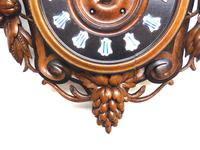 Rare Antique French Carved Dial Wall Clock 8 Day Movement Dial Black Forest Design (9 of 10)