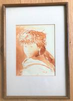 Original Sepia Watercolour 'Girl with long silver earrings, Kathmandu' by Rob Fairley. Signed & Dated 1989 (2 of 3)