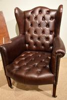 Edwardian Mahogany Leather Wing-back Armchair (6 of 10)