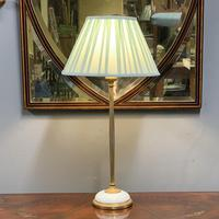 French Brass & Domed Milk Glass Table Lamp