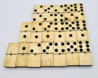 Antique 19th Century Bone & Ebony Double-Six Dominoes W/brass Pins - Complete Set of 28 (2 of 8)