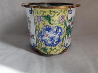 Antique Chinese Canton Enamel Planter / Pot Enamel on Copper Hand Painted (3 of 14)