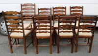 1960s Set of 8 Ash Ladderback Dining Chairs - 2 Carvers + 6 Chairs (4 of 4)
