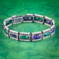 Art Deco Suffragette Pearl Paste Bracelet Sterling Silver c.1920
