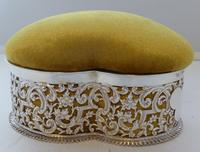 Large Victorian 1899 Hallmarked Silver Jewellery Box Pin Cushion Ring Earring (7 of 13)