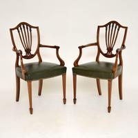 Pair of Antique Mahogany Shield Back Carver Armchairs