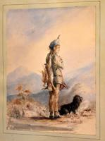 Early Victorian Watercolour of a Scottish Gillie (4 of 8)