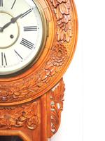 Massive Rare Antique Carved Walnut 8-Day Drop Dial Striking Wall Clock (3 of 14)
