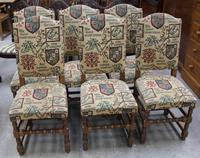 1940's Set 6 Oak High Back Dining chairs with Heraldic Upholstery