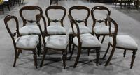 1960s Set 8 Mahogany Balloon Back Dining Chairs in Pale Upholstery (3 of 3)