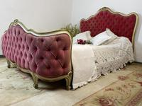 Antique French Demi Corbeille Chesterfield Style Double Bed Frame (2 of 13)