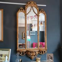 Antique Regency style triple fronted Giltwood Mirror with shelf (2 of 9)