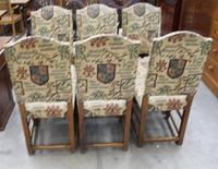 1940's Set 6 Oak High Back Dining chairs with Heraldic Upholstery (4 of 4)