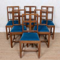 6 Arts & Crafts Carved Oak Dining Chairs (8 of 10)