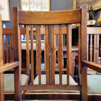 Arts & Crafts Oak, Medullery Ray Extending Table with 6 Chairs, in the manner of Liberty & Co (13 of 22)