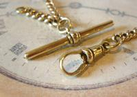 Antique Pocket Watch Chain 1890s Victorian Brass Figaro Link Albert With T Bar (8 of 11)
