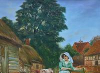Wonderful Original Signed Vintage Oil Painting - Pretty Milkmaid in Farmyard (9 of 12)
