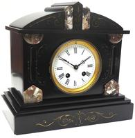Fine Antique French Slate Mantel Clock - Bell Striking 8-day Mantle Clock c.1900 (3 of 12)