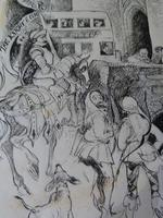 """William Papas """" Canterbury """" Ink Drawing 1970's - 1 of 6 Listed (4 of 10)"""