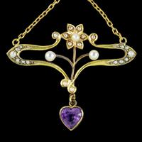 Antique Art Nouveau Suffragette Pendant 15ct Gold Peridot Amethyst Pearl c.1910 (3 of 6)
